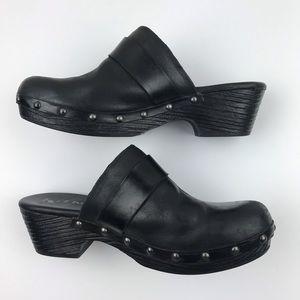 Korks Black Leather Stud Clogs Shoes Size 9